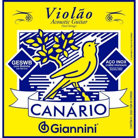 Encordoamento Para Violão em Aço .011 GESWB Série Canário GIANNINI