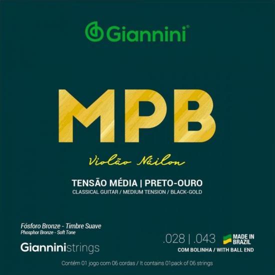 Encordoamento Para Violão GENWBG Série MPB Nylon Média GIANNINI