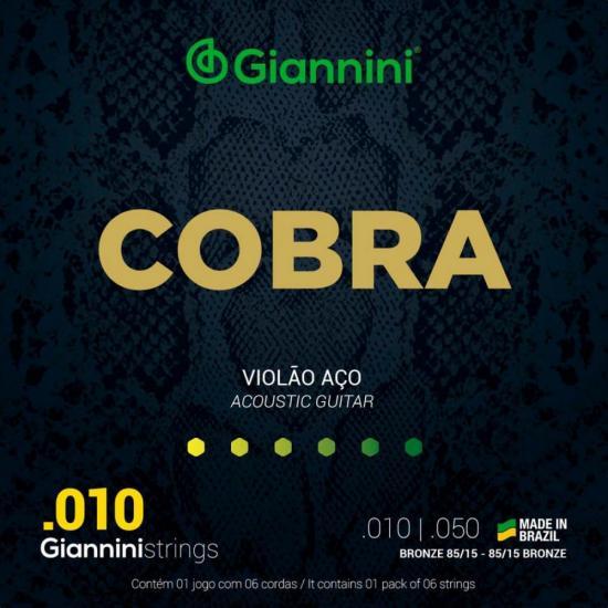 Encordoamento para Violão Aço .010 GEEFLE Série Cobra GIANNINI
