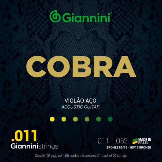Encordoamento para Violão em Aço .011 GEEFLK Série Cobra GIANNINI