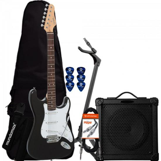 Kit Guitarra G-100 Preta GIANNINI + Cubo + Capa + Acessórios