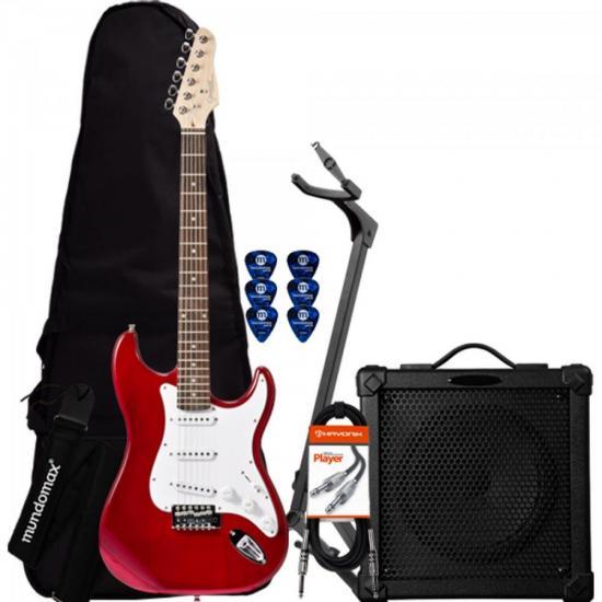 Kit Guitarra G-100 Vermelha GIANNINI + Cubo + Acessórios