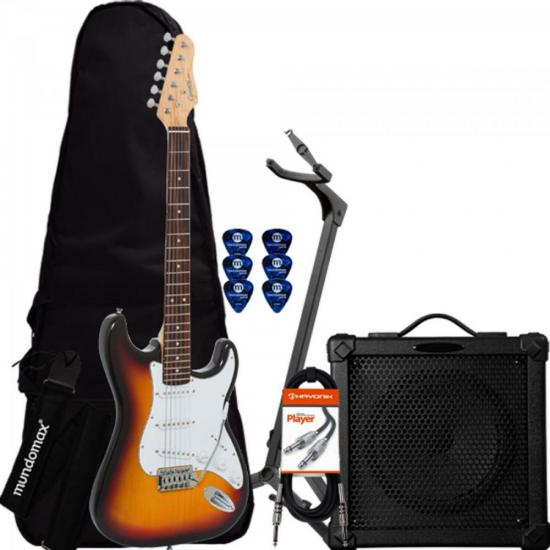 Kit Guitarra G-100 Sunburst GIANNINI + Cubo + Acessórios