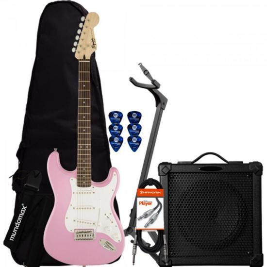 Kit Guitarra Com Captadores Humbucker G-102 Preta GIANNINI + Cubo + Afinador + Suporte + Capa + Correia + Palhetas
