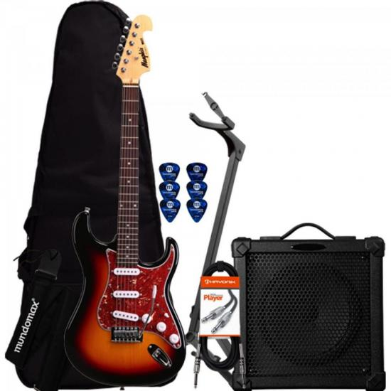 Kit Guitarra Básico MG32 Sunburst MEMPHIS + Cubo + Acessórios
