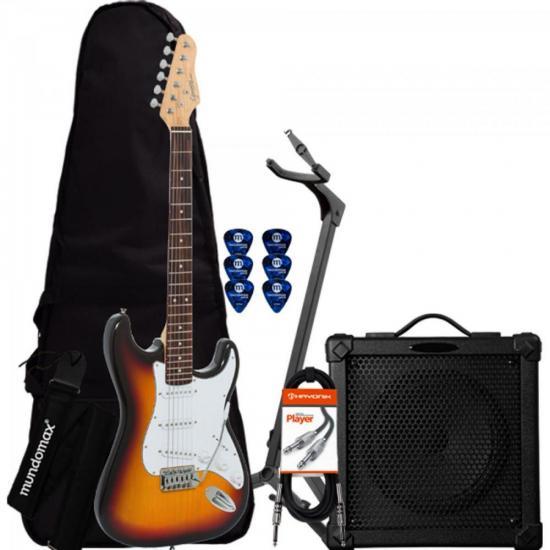 Kit Guitarra Completo G-100 Sunburst GIANNINI + Cubo + Afinador + Acessórios