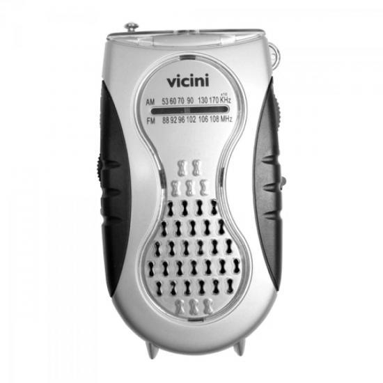 Rádio Portátil AM/FM VC25 Preto/Prata VICINI (36985)