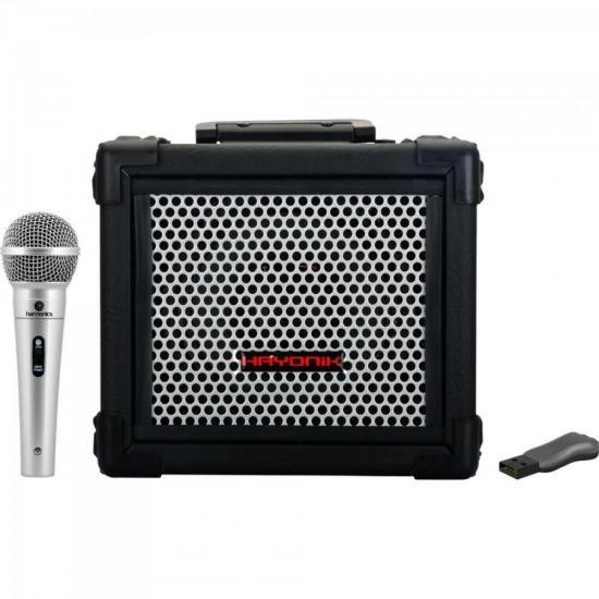Kit Caixa Amplificada Multiuso IRON 80 HAYONIK + Pen Drive + Microfone