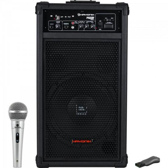Kit Caixa Amplificada Player 600 HAYONIK + Pen Drive + Microfone