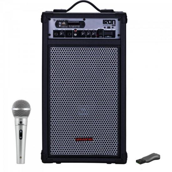 Kit Caixa Amplificada Multiuso 100W IRON 600 HAYONIK + Pen Drive + Microfone