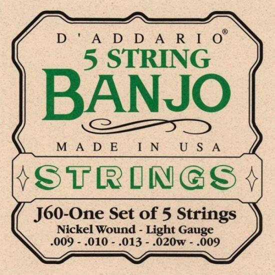 Encordoamento para Banjo 5 Cordas Leve J60 D'ADDARIO