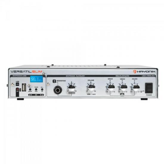 Amplificador 50W VERSATIL SLIM USB 12V Prata HAYONIK