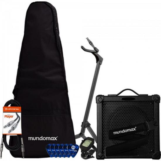 Kit de Acessórios para Guitarra com Cubo HG20 + Capa Acolchoada + Correia + Cabo + Afinador + Suporte + Palhetas