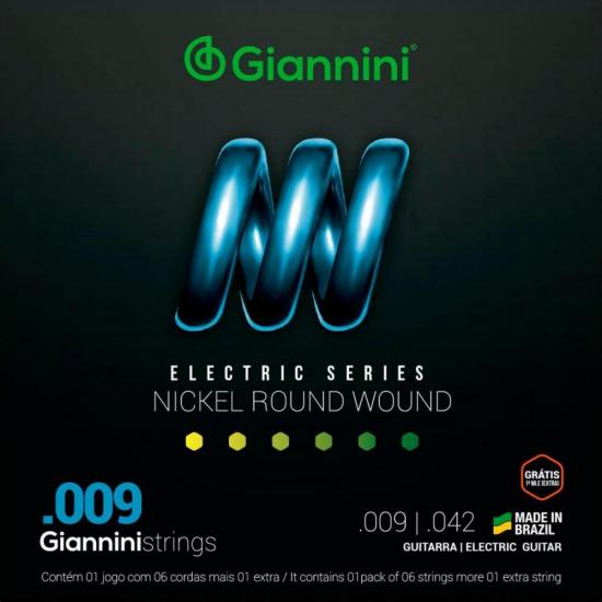 Encordoamento para Guitarra .009 Nickel Round Wound GEEGST9 GIANNINI