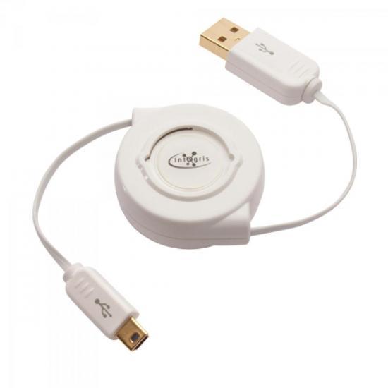 Cabo USB 2.0 Retrátil 0,8M Branco INTEGRIS (45518)