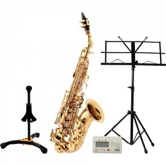 Kit Saxofone Soprano Sib SP508 EAGLE + Afinador + Suporte + Partitura