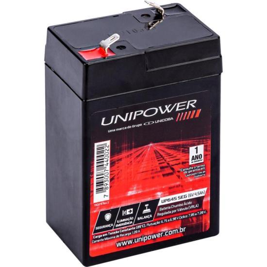 Bateria Estacionária Selada 6V/4,5AH VRLA UP645SEG UNIPOWER