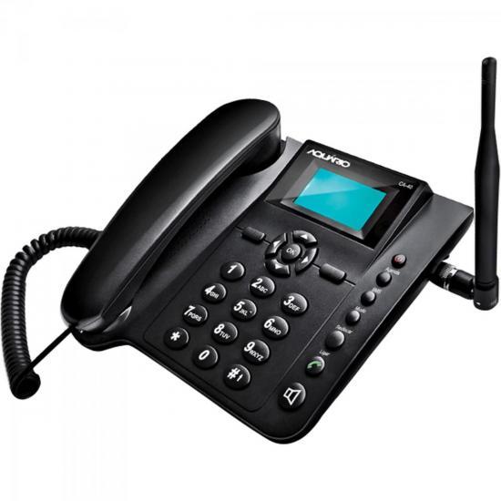 Telefone Celular de Mesa Quadriband CA40 Preto AQUÁRIO