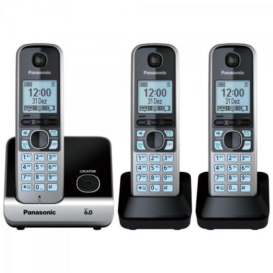 Telefone sem Fio com Base + 2 Ramais KX-TG6713LBB Preto PANASONIC