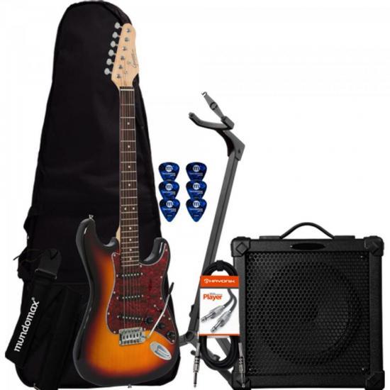 Kit Guitarra G-100 Sunburst Tortoise GIANNINI + Cubo + Acessórios