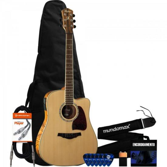 Kit Violão Eletroacústico Folk Natural HMD-275 HOFMA Com Afinador Acoplado + Acessórios