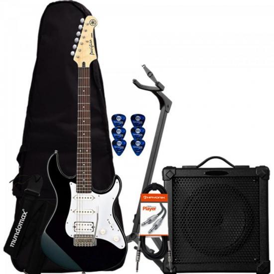 Kit Guitarra Pacifica 012 Preta YAMAHA + Cubo + Acessórios