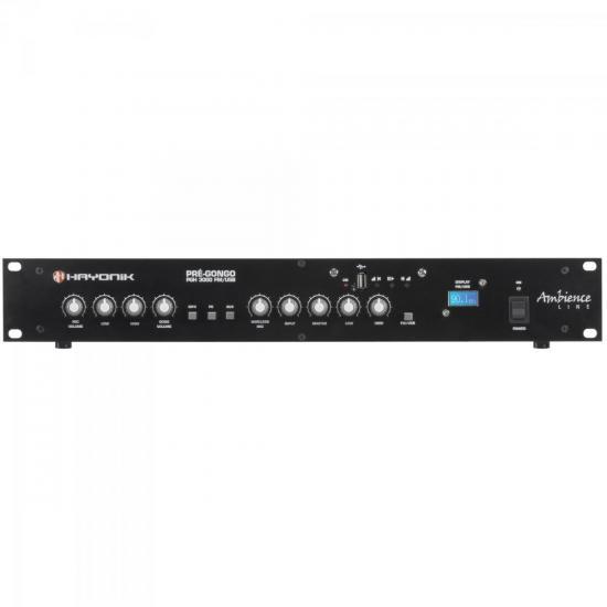 Pré Gongo AMBIENCE LINE PGH3000 FM/USB Preto HAYONIK