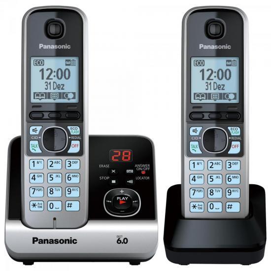 Telefone sem Fio com Base + Ramal KX-TG6722 Preto/Prata PANASONIC