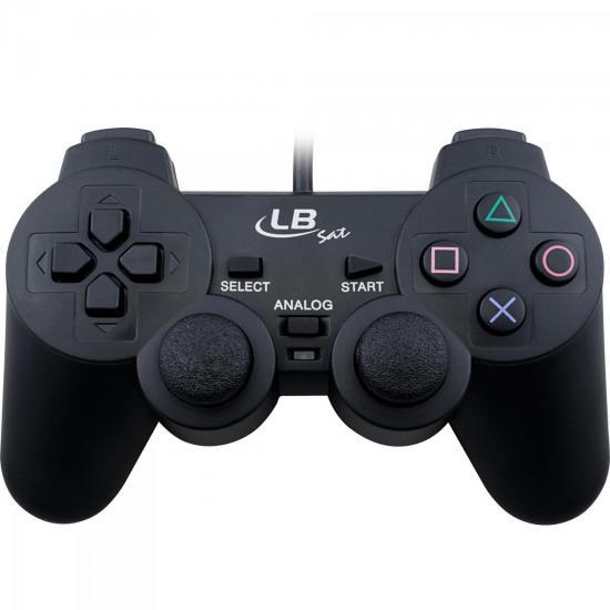 Controle com fio Para PS1/PS2 Dual Shock LB208 Preto LBSAT (49899)