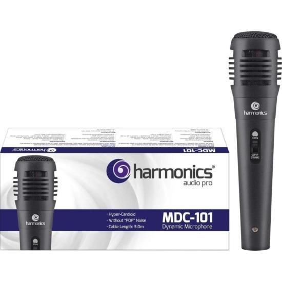 Microfone Dinâmico Supercardióide Cabo 3m MDC101 Preto HARMONICS