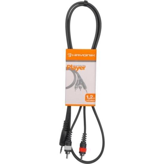 Cabo de Áudio Linha Player P2 x RCA2 1,2 Metros Preto HAYONIK