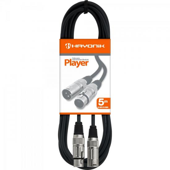 Cabo para Microfone XLR(F) X XLR(M) 5m PLAYER Preto HAYONIK