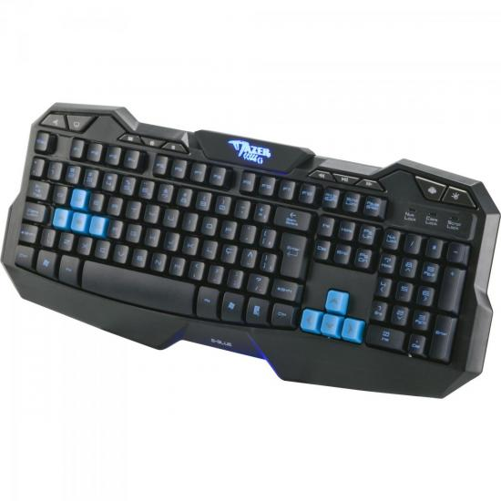 Teclado Gamer USB MAZER TYPE-G Preto/Azul E-BLUE