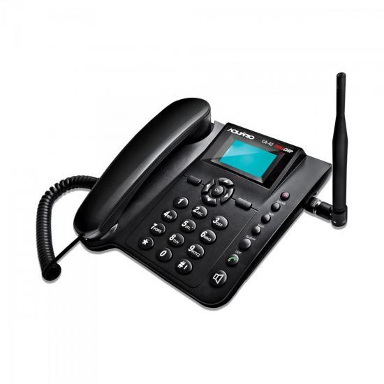 Telefone Celular de Mesa Quadriband Dual Chip CA42 Preto AQUÁRIO