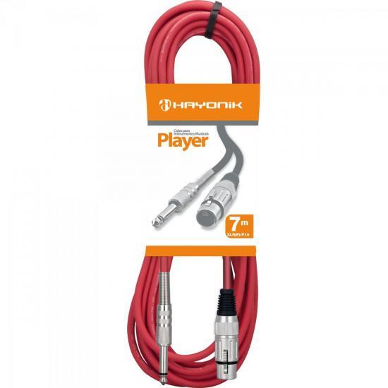 Cabo para Microfone XLR(F) X P10 7m PLAYER Vermelho HAYONIK