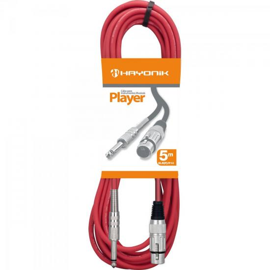 Cabo para Microfone XLR(F) X P10 5m PLAYER Vermelho HAYONIK