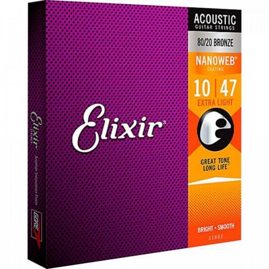 Encordoamento para Violão .010 Extra Light Nanoweb ELIXIR