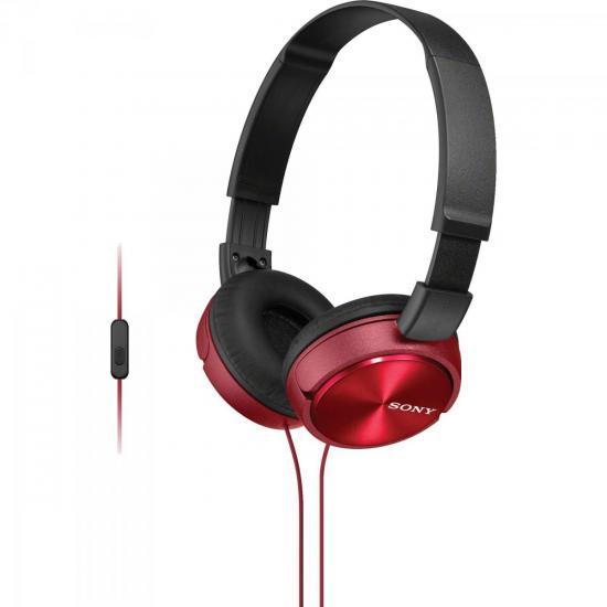 Fone de Ouvido com Microfone MDR-ZX310AP Preto/Vermelho