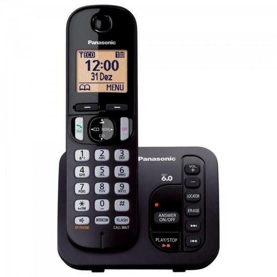 Telefone sem Fio com ID/Secretária/Viva Voz KX-TGC220LBB Preto PANASONIC