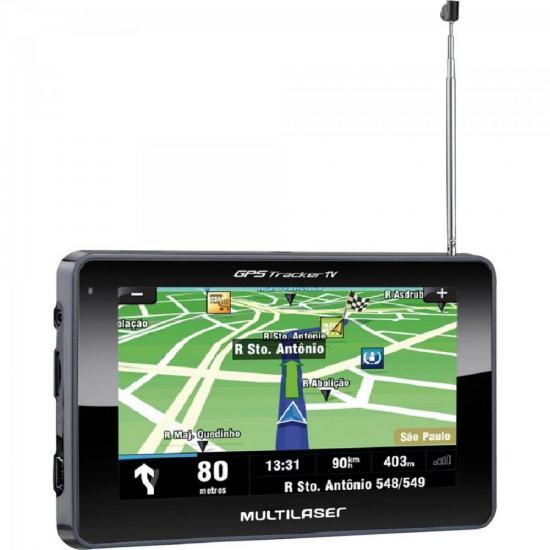 Navegador GPS com TV/Radio FM/Leitor de USB/SD GP034 Preto MULTILASER (56851)