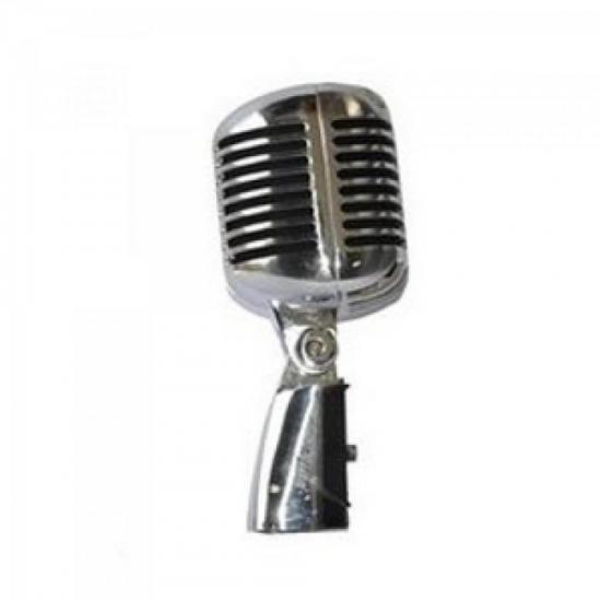 Microfone Dinâmico RETRÔ LC-55 Cromado LEACS (57409)