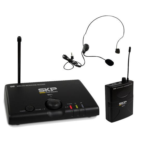 Microfone sem Fio Auricular Bivolt MINI-V Preto SKP (58263)
