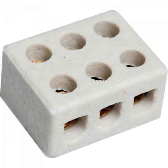 Conector Porcelana 3P 10MM Branco BRASFORT