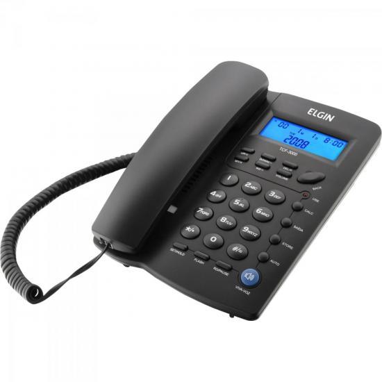 Telefone de Mesa com Identificador de Chamadas e Viva-voz TCF3000 Preto ELGIN