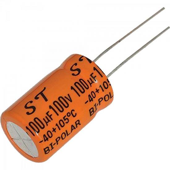 Capacitor Eletrolítico Bipolar 100uF x 100V CAPC0003 Laranja STORM