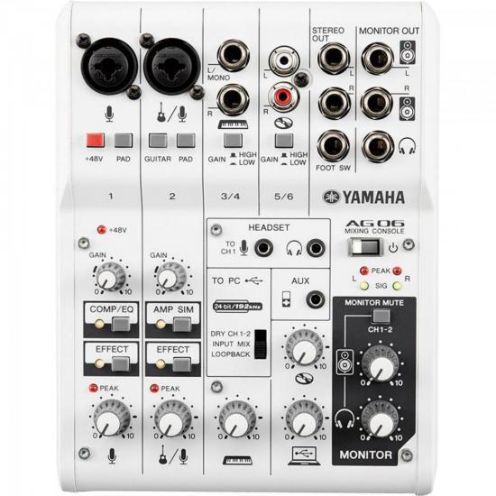 Mesa de Som e Interface de Áudio 6 Canais AG06 YAMAHA