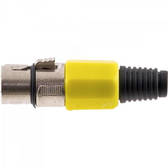 Conector Cannon XLR Fêmea JCCN0008 Plástico Amarelo STORM