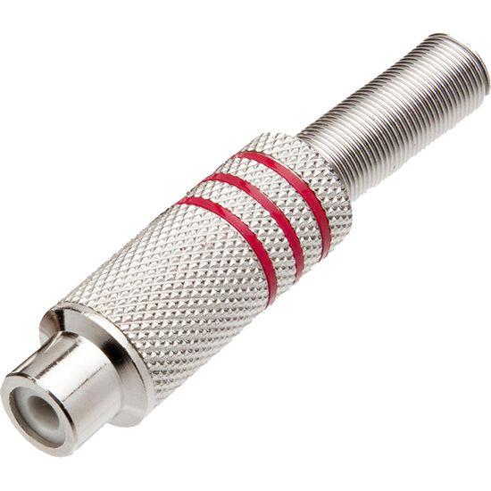Plug RCA Fêmea Niquelado com Mola JCRC0003 Vermelho STORM
