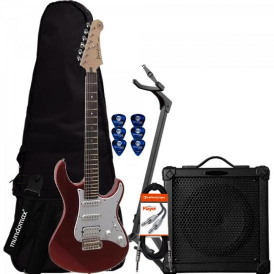 Kit Guitarra Pacifica 012 Vermelha YAMAHA + Cubo + Capa + Acessórios
