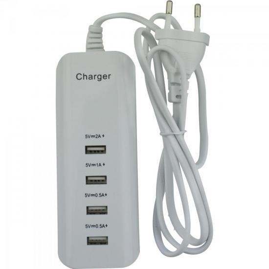 Carregador USB 4 Portas 0.5A a 2A 044-2004 Branco CHIPSCE (59802)
